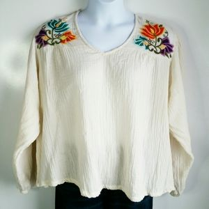 Hippie Laundry boho embroidered muslin top size 2X